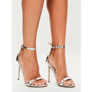 Missguided Silver Shiny Barely There High Heels